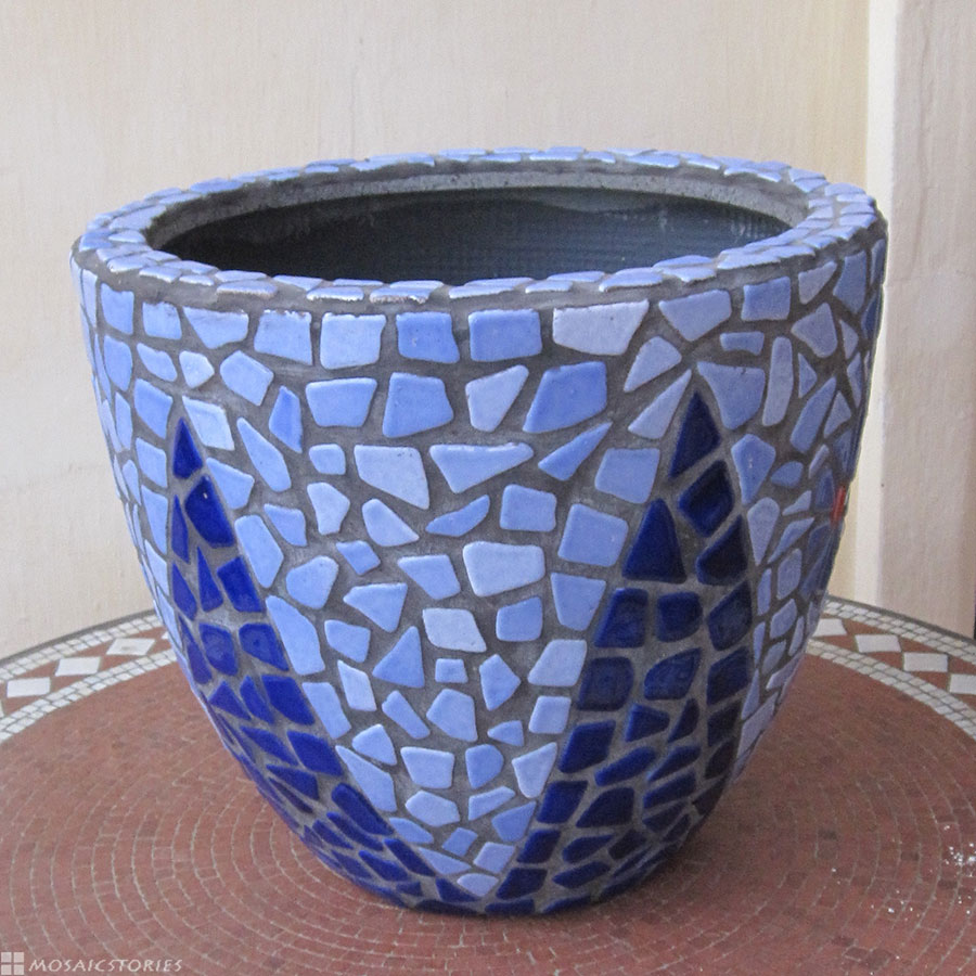Flower Pot made from broken mosaic tiles